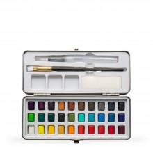 Watercolour Set : 30 Half Pans  : Plus 1 Brush and 1 Brush Pen