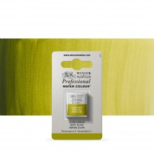 Winsor & Newton : Professional Watercolour Paint : Half Pan : Olive Green