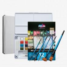 Zieler : Premium Watercolour Paint : Half Pan : Starter Set