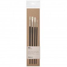 Jackson's : Akoya White Synthetic Bristle Hair Brush : Set of 4 : 2 & 6 Round, 6 Bright, 4 Filbert