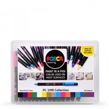Uni : Posca Marker : PC-1MR : Ultra-Fine Pin Tip : 0.7mm : Assorted Colours Set of 16