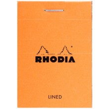 Rhodia : Basics Lined Pad : Orange Cover : 52x75mm (5.2x7.5cm)