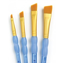 Royal Brush : 4Pc Golden Taklon Angular Brush Set
