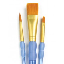 Royal & Langnickel : 3Pc Golden Taklon Variety Brush Set