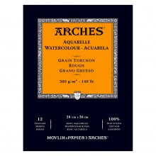 Arches : Aquarelle : Gummed Watercolour Pad : 26x36cm : 12 Sheets : Rough