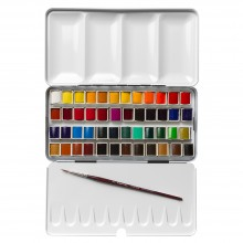 Sennelier : Watercolour Paint : Classic Metal Tin Set Of 48 Half Pans
