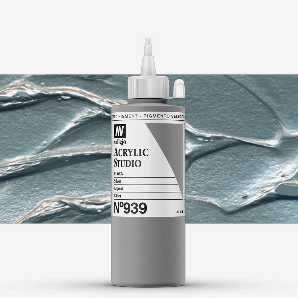 Vallejo : Studio Acrylic Paint : 200ml : Silver