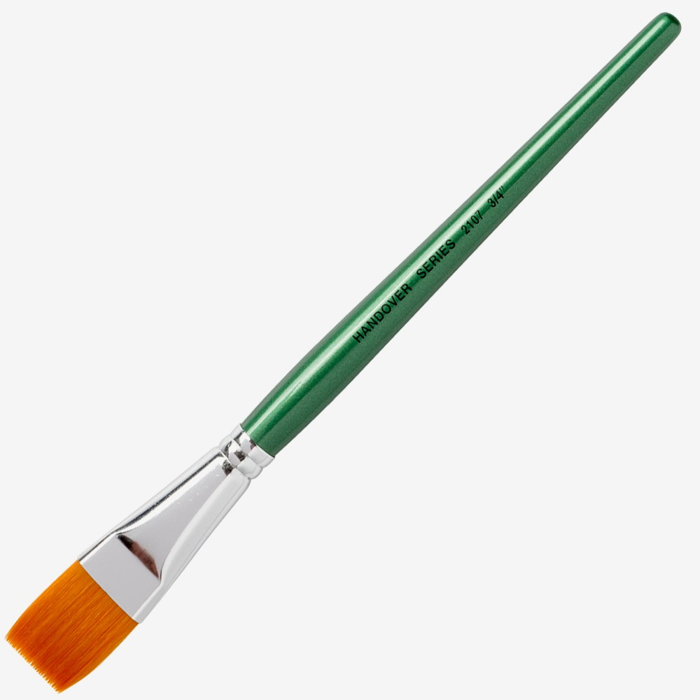 Handover : Series 2107 Synthetic Flat One Stroke Brush : Green Handle : 3/4 in