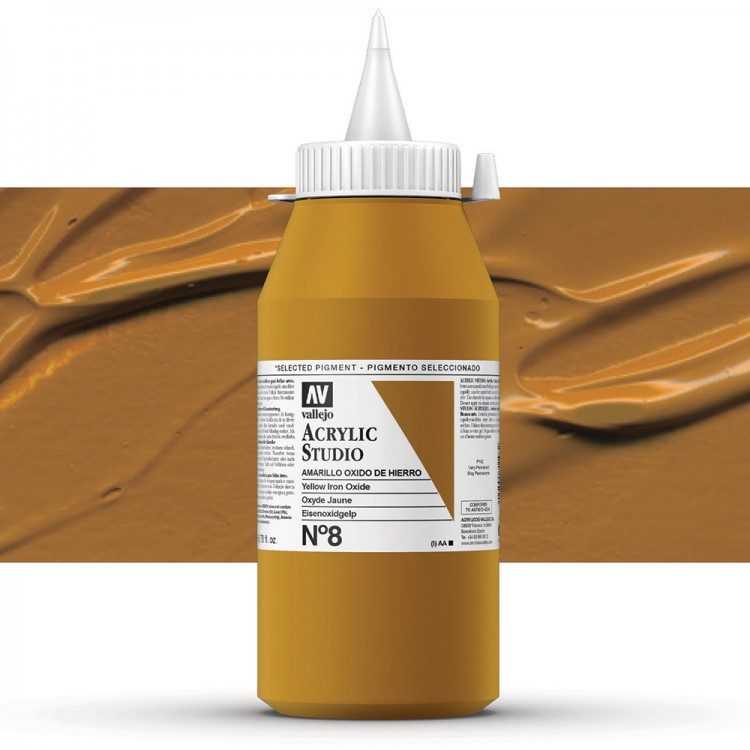 Vallejo : Studio Acrylic Paint : 1000ml : Mars Yellow (Ochre)
