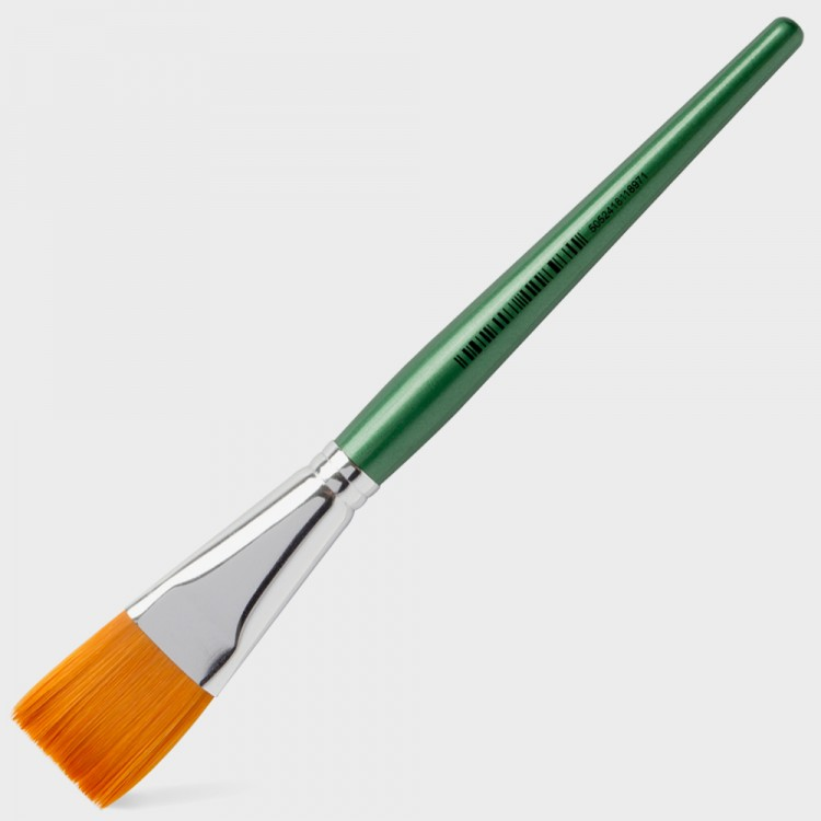 Handover : Series 2107 Synthetic Flat One Stroke Brush : Green Handle : 1 in