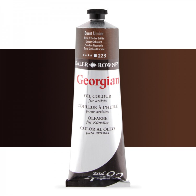 Daler Rowney : Georgian Oil Paint : 225ml : Burnt Umber
