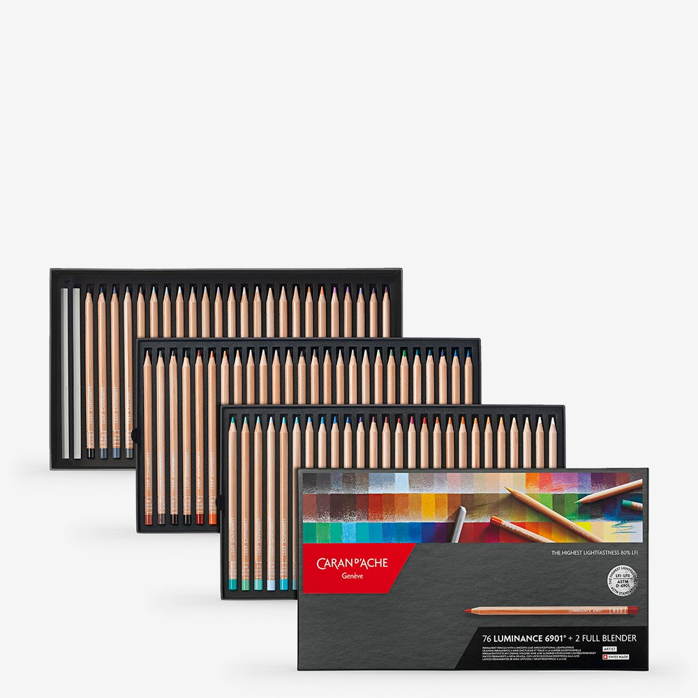Caran d'Ache : Luminance 6901 : Colour Pencil : Set of 76 : Includes 2 Full Blenders