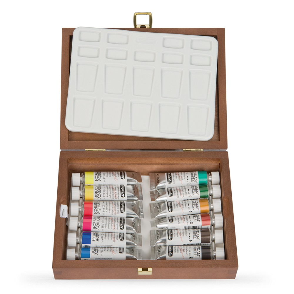 Schmincke : Horadam Watercolour Paint : Wooden Box Set : 12x15ml Tubes