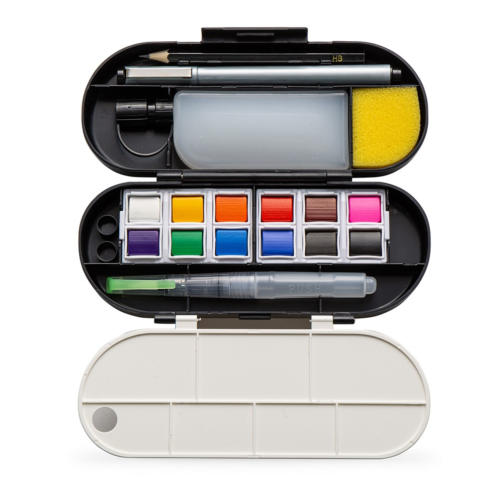 Travel Watercolour Set : 12 Half Pans and Accessories