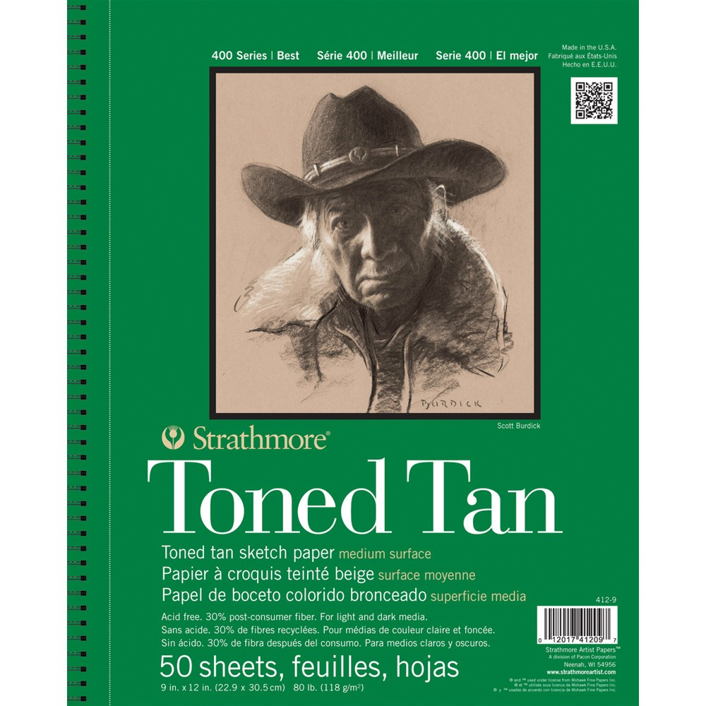 Strathmore : 400 Series : Toned Tan : Sketch Pad : 9x12in : 50 Sheets