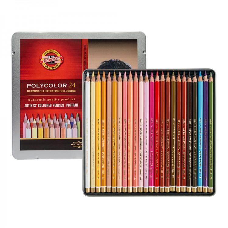 Koh-I-Noor : Polycolor : Artist Coloured Pencils 3824 : Set of 24 : Portrait