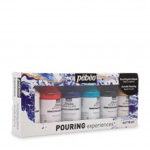 Pebeo : Pouring Experiences : Acrylic Paint :  118ml : Set of 6