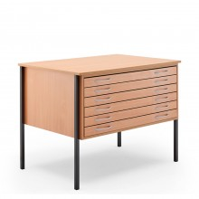 Vistaplan : Wooden Economy Planchest : 6 Drawer A0 : Beech : UK Only