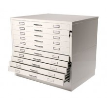 Vistaplan : Metal Planchest 10 Drawer A0 White : UK Only
