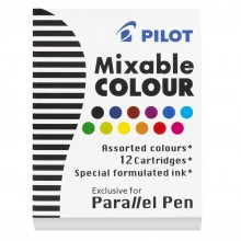 Pilot : Parallel Lettering Pen Ink Cartridge : Set of 12 : Assorted Colours