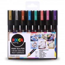 Uni : Posca Marker : PC-5M : Medium Bullet Tip : 1.8 - 2.5mm : Metallic Set of 8