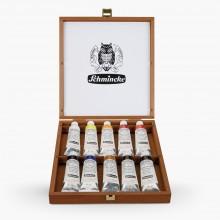Schmincke : Mussini Oil : Wood Box Set of 10 x 35ml Tubes