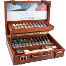 Sennelier : Artist Oil Colour : Wooden Box Set : 22 x 40ml with Accessories