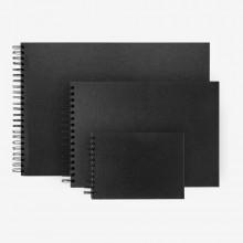 Seawhite : Black Card Sketchbooks : Wide Spiral Pad : 40 Sheets