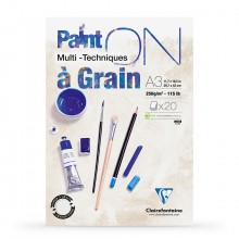 Clairefontaine : PaintOn Grained : Gummed Pad : 250gsm : 20 Sheets : A3