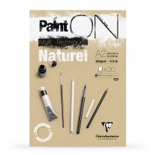 Clairefontaine : PaintOn Natural : Gummed Pad : 250gsm : 30 Sheets : A2