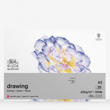 Winsor & Newton : Heavy Weight Drawing : Cartridge Gummed Pad : 220gsm : Smooth : 25 Sheets : A2