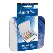 Daler Rowney : Aquafine Travel Watercolour Paint Set : Half Pan : Set Of 24