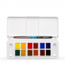 Daler Rowney : Aquafine Watercolour : Half Pan : Pocket / Travel Set of 12