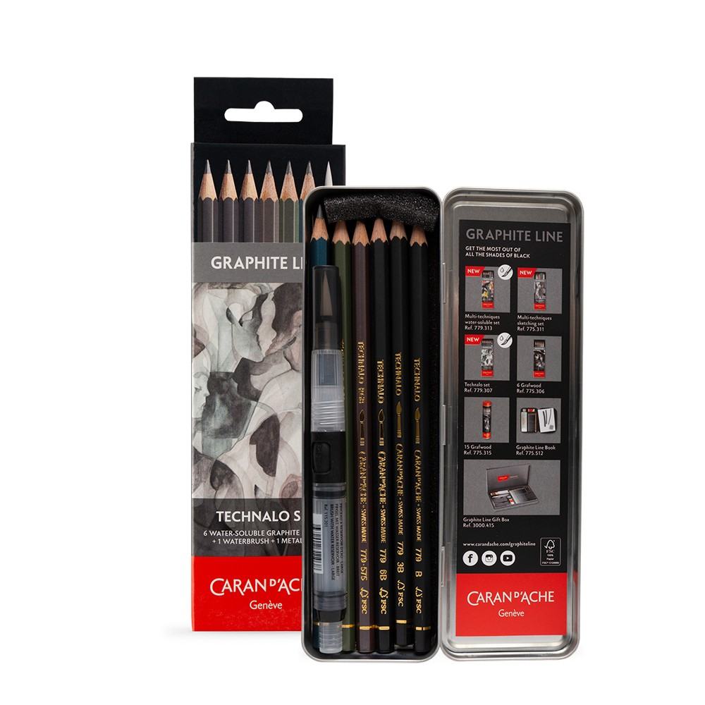 Caran d'Ache : Technalo : Watersoluble Graphite Pencil : Metal Set of 7