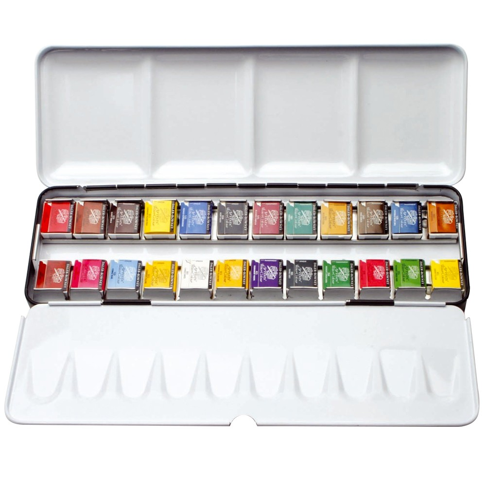 Daler Rowney : Artists' Watercolor Paint : Metal Set : Half Pan : Set Of 24
