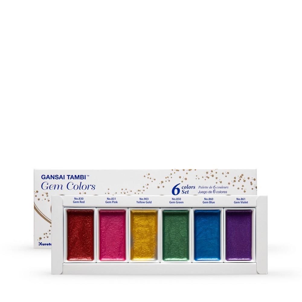 Kuretake : Gansai Tambi Japanese Watercolor : Gem Colors Set of 6