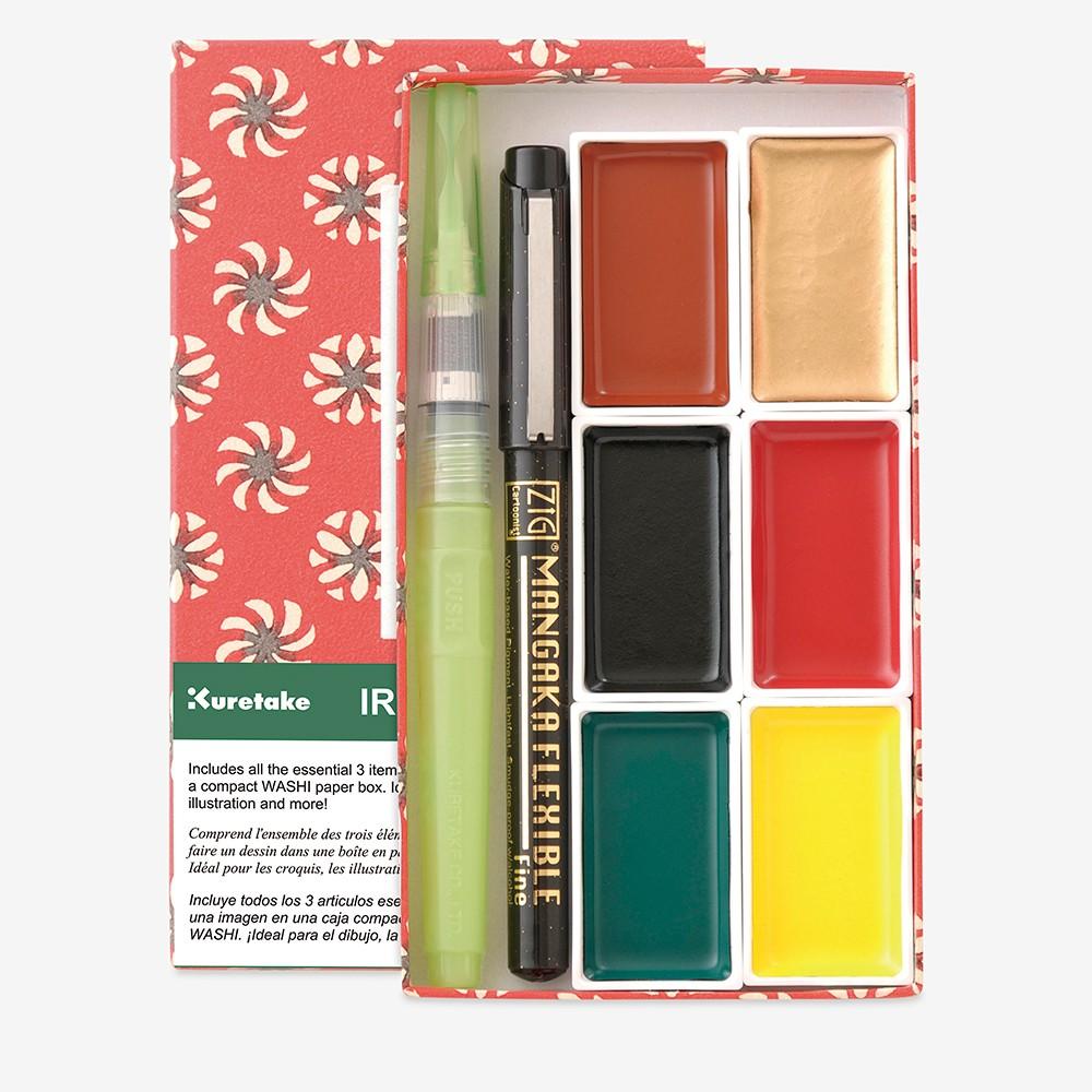 Kuretake : Irodori Kobako Red : Set of 6 Gansai Tambi Watercolour Pans and 2 Pens