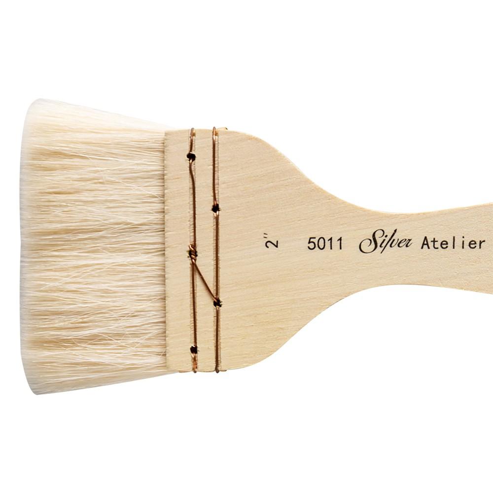 Flat Hake Paint Brush Size 2 Short Handle Silver Brush Limited Atelier