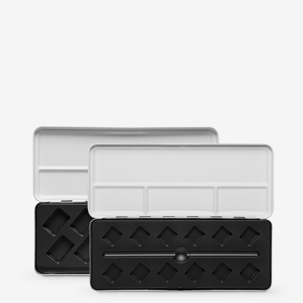JAS : Empty Metal Watercolor Boxes : Diagonal Plastic Moulding
