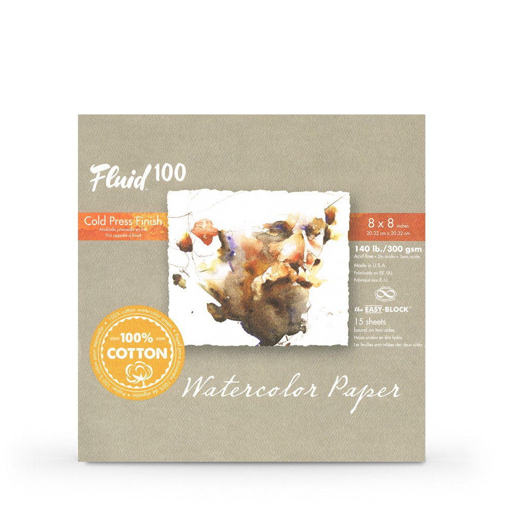 Global : Fluid 100 Easy Block : Watercolor Paper : 300gsm : 8x8in : Cold Pressed