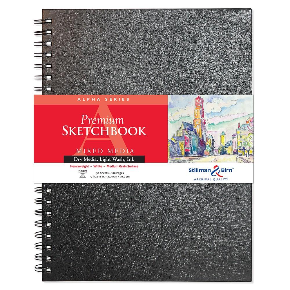 Stillman & Birn : Alpha Sketchbook : 9 x 12in Wirebound 150gsm : Natural White Vellum
