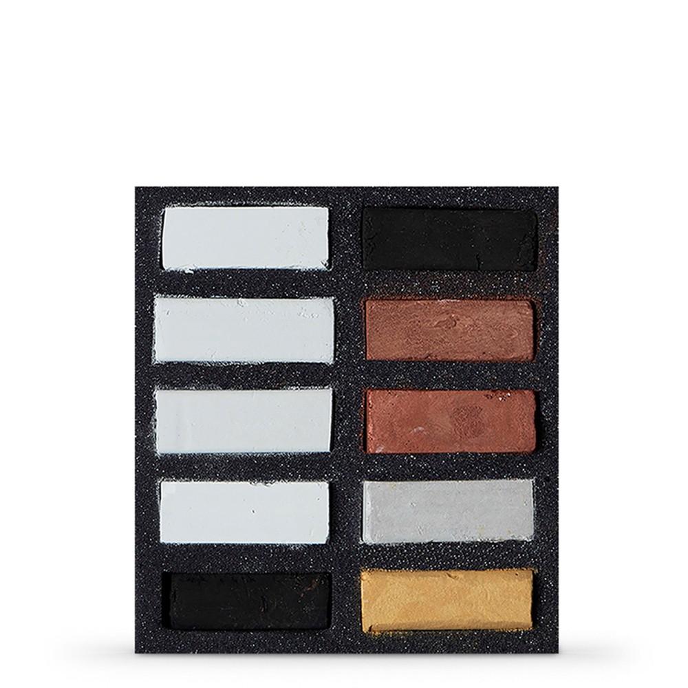 Art Spectrum : Extra Soft Square Pastel : Set Of 10 : Blacks Whites & Metallics