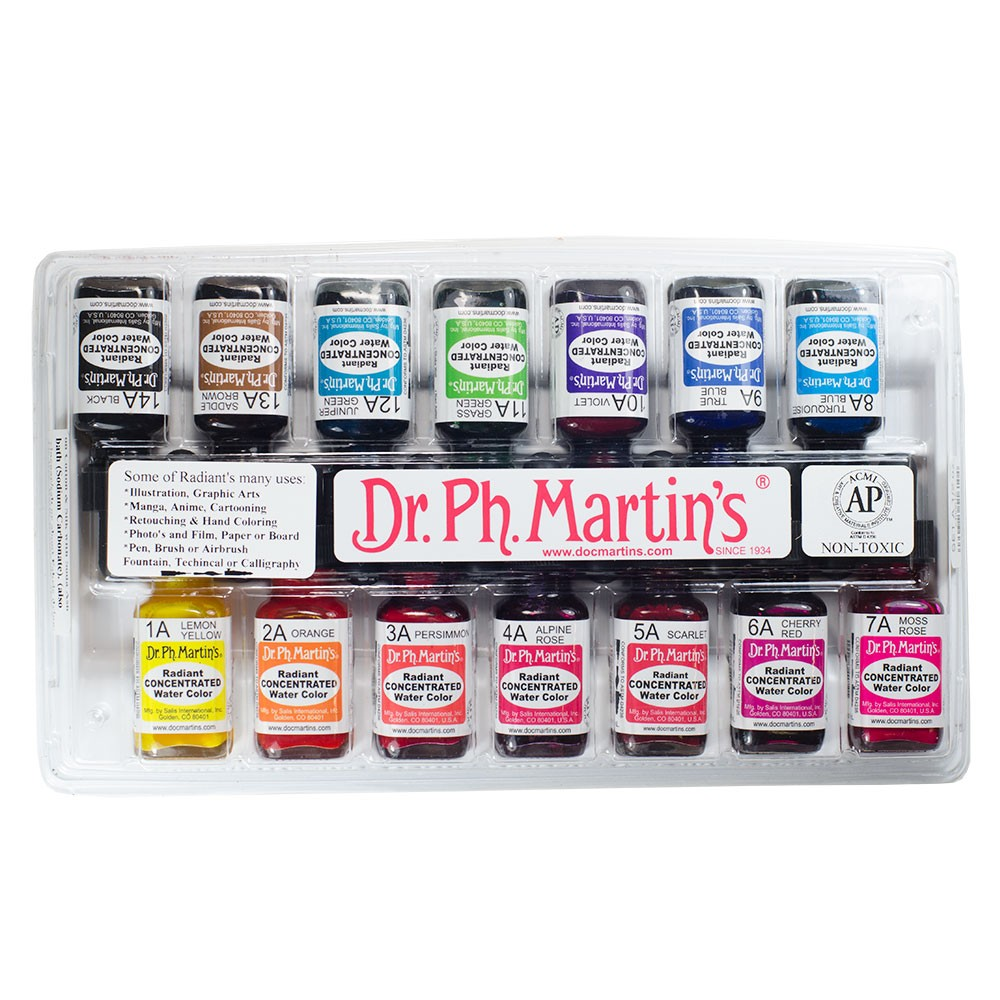 Dr. Ph. Martin's : Radiant Watercolor Paint : Dye : 15ml : Set A (1 To 14)
