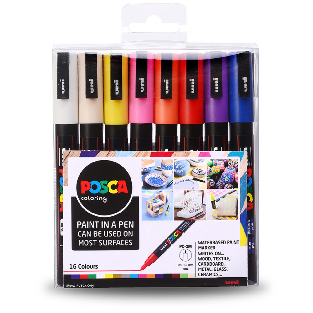 PC-3M Art Paint Markers Uni POSCA Pastel Tones Set of 8 In Gift Box