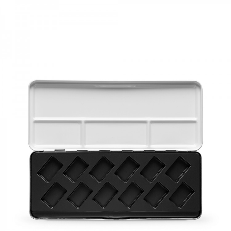 JAS : Empty Diagonal Plastic Molding Metal Watercolor Box : Holds 12 Full Pans