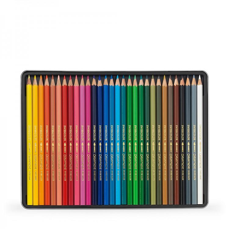 Caran d'Ache : Swisscolor : Watersoluble Pencil : Metal Tin Set of 30
