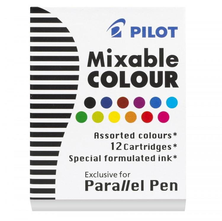 Pilot : Parallel Lettering Pen Ink Cartridge : Set of 12 : Assorted Colors