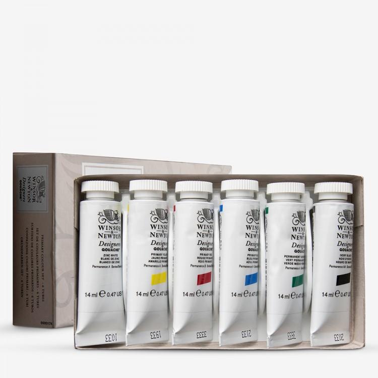 Winsor & Newton : Designer Gouache Paint : Primary Set : 6x14ml