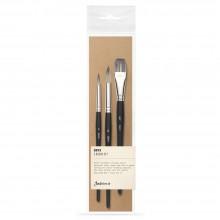 Jackson's : Onyx : Synthetic Brush : Set of 3 : 8 & 12 Round, 3/4in Flat