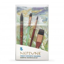 Princeton : Neptune : Synthetic Squirrel : Watercolour Brush : Series 4750 : Short Handle : Essential Set of 4